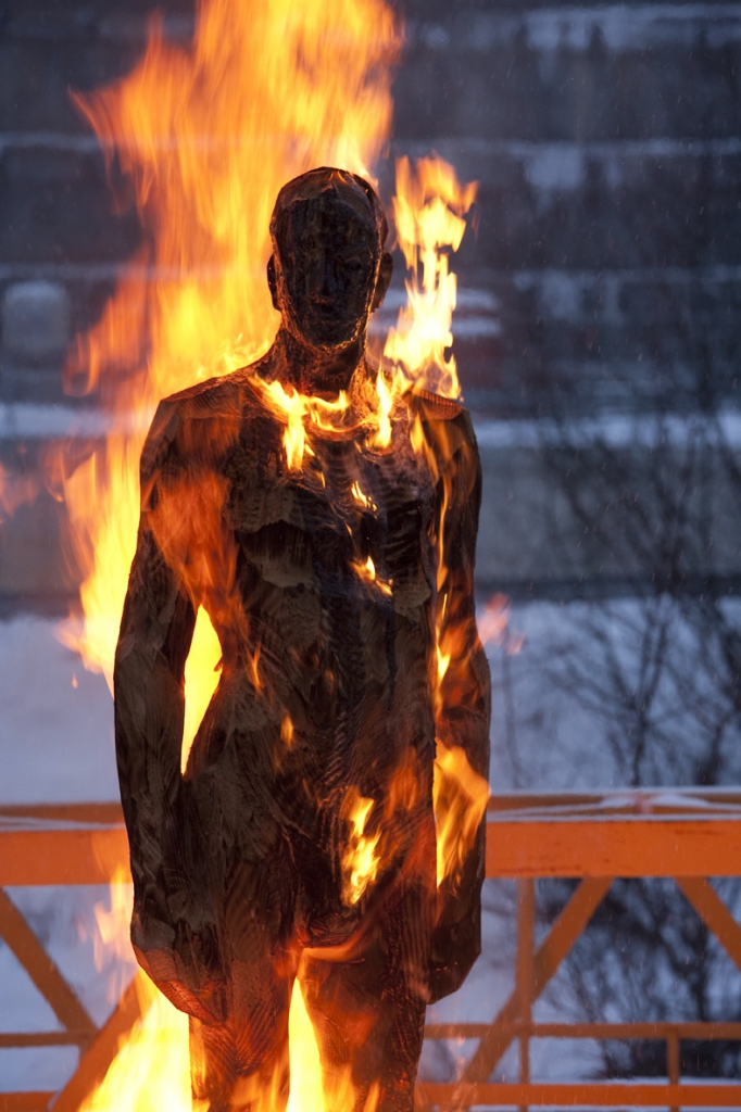 Burning Man, 2010, carbonized wood, h 230 cm