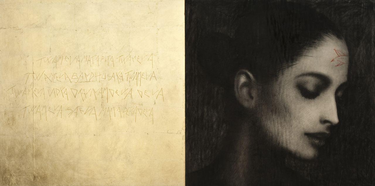 Mantra, matita pastello e foglia d'oro su tavola, 80x160 cm
