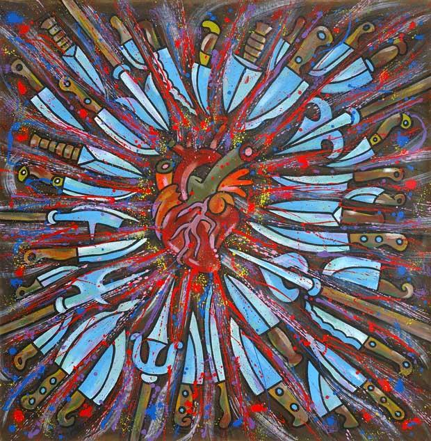 Oh Cuore Mio!, 2005, acrilico su tela, 160x160 cm