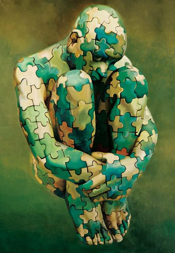 Puzzle Genetico, 2000, oil on canvas, 130x90 cm