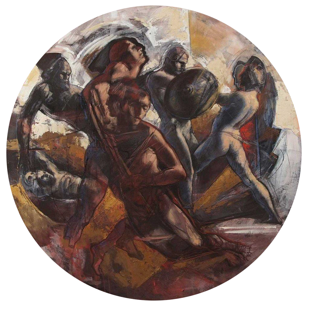 Scudo di Guerra, 2007, acrylic and oil on board, 100 cm