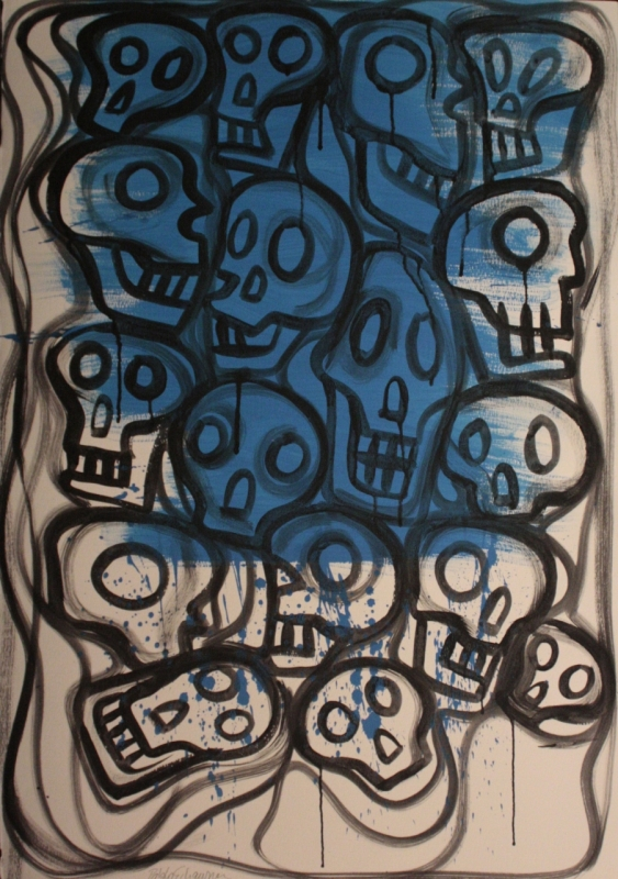 Teschi, acrilico su carta fatta a mano, 100x70 cm